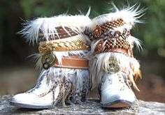 Upcycled Custom REWORKED vintage feathered boho white COWBOY BOOTS - boho boots Wedding Boots Gypsy Boots Festival Boots Leather Ankle boots by TheLookFactory on Etsy https://www.etsy.com/listing/164335481/upcycled-custom-reworked-vintage