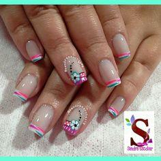 Flores Gorgeous Nails, Love Nails, Pretty Nails, Fun Nails, French Manicure Nails, French Nails, Manicure And Pedicure, Pedicure Designs, Nail Designs