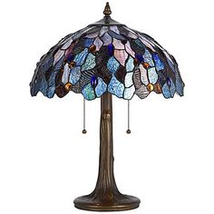 """Blue And Antique Brass 22 1/2"""" High Tiffany Accent Lamp"""