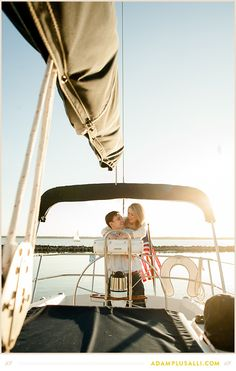 Sailboat engagement photos.
