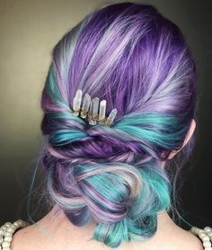 A huge braid, purple, teal, and pink hair... what's not to like!?