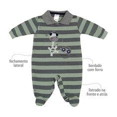 Macacão Listrado para Bebê Menino Verde - Sonho Mágico :: 764 Kids | Roupa bebê e infantil