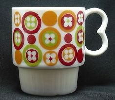 Nesting Coffee Mug Cup Retro 70's Cambria Japan Avocado Green Burnt Orange Red | eBay