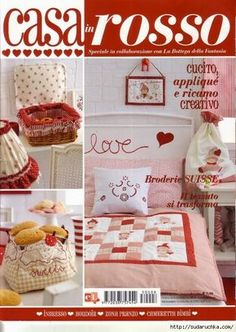 Speciale Casa in Rosso pixels Cross Stitch Magazines, Cross Stitch Books, Magazine Crafts, Crochet Books, Patchwork Bags, Cross Stitch Embroidery, Fabric Crafts, Crafts To Make, Pattern Design