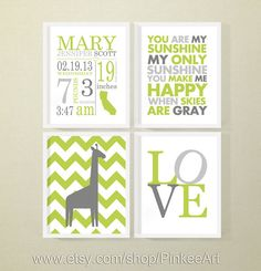 baby boy birth announcement, personalized birth date print with love letters and nursery quote, baby name art, birth stats print set of 4 by PinkeeArt, $29.00
