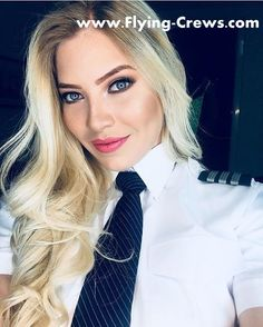 21 Slightly Racy Photos Of The Hottest Female Cabin Crew The Airlines Tried To Ban! Flight Girls, Women Wearing Ties, Pilot Uniform, Female Pilot, Military Women, Blond, Girls Uniforms, Cabin Crew, I Love Girls