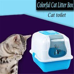 Closed Litter Box Shovel Cat Toilet Potty Training House Restroom Basin For Cats Plastic Hamster Bathroom Toilet-For-Cat QQV792
