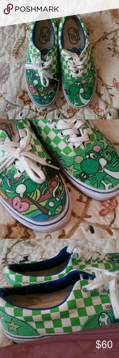 69d7fb70783b Hot Hand Painted Yoshi Mario Freestyler Vans Shoes Awesome hand painted Vans  featuring Yoshi and various