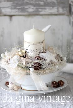 Candles & Lighting - Shabby Chic ♥ Advent in old sauce boat ♥ - a design . - Candles & Lighting – Shabby Chic ♥ Advent in old sauce boat ♥ – a unique product by da-gina - Christmas Candles, White Christmas, Christmas Time, Christmas Crafts, Christmas Decorations, Xmas, Advent Candles, Shabby Chic Kitchen Decor, Diy Garden Decor