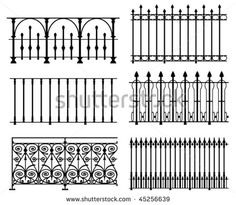 Black and white wrought iron modular railings and fences - stock vector
