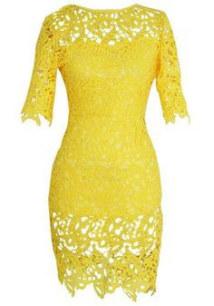 Yellow Plain Hollow-out Zipper Dress - Midi Dresses - Dresses