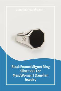 Black Enamel Signet Ring Silver 925 For Men/Women | Danelian Jewelry Signet Ring, Silver Man, Jewelries, Black Enamel, Men Fashion, Band Rings, Invite, Amethyst, Rings For Men