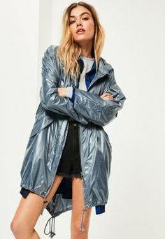 Blue Metallic Rain Mac