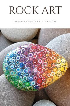 Rainbow Dot Rock Art, Painted Stone - Rockpaining - Art World Rainbow Painting, Dot Art Painting, Mandala Painting, Rainbow Art, Pebble Painting, Pebble Art, Stone Painting, Mandala Art, Rainbow Things