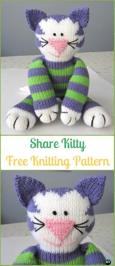 Amigurumi Share Kitty Softies Toy Free Knitting Pattern - Knit Cat Toy Softies Patterns