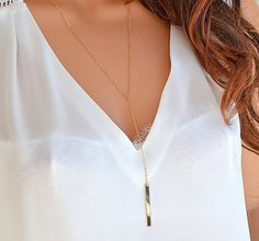 Long Drop Y Necklace, Dainty Gold Necklace, Gold Chain Necklace Layered, Layered and Long Necklace, Minimal Necklace Gold, Silver, Rose Gold by goldenbijoux. Explore more products on http://goldenbijoux.etsy.com