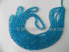 Neon Blue Apatite Smooth Roundelle Gemstone Beads.