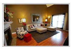 Brown, Red, White, Black, Grey, and Tan palette. Living room