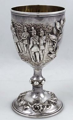 Robert Hennell antique silver goblet with shooting scenes, London 1860.