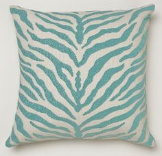 This Duralee zebra print pillow cover is sure to brighten any room and put a smile on your face every time you look at it.