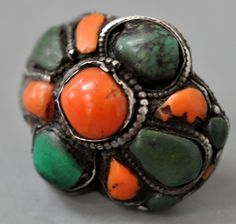 coral and green turquoise , silver hair ring Tibetan 19th c (private collection Linda Pastorino)