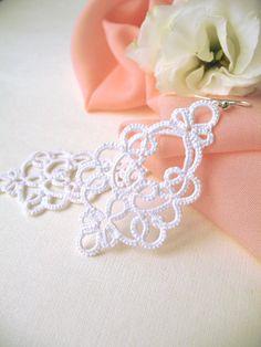 Delicate white earrings Pretty lightweight earrings Boho chic