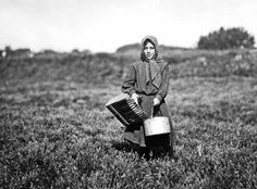 Vintage Photos: Lewis Hine - Cranberry Pickers.  Carrie Maderyos ready to pick. Said 12 years old.   Falmouth, Swift's Bog, Massachusetts, 1911