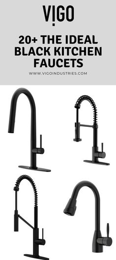 Get inspired with the Ideal Matte Black Kitchen Faucets by VIGO! Choose your favorite ideas and design to remodel your kitchen | www.vigoindustries.com | Visit for more inspirations related to modern kitchen, interior design, kitchen sinks and faucets, modern house, modern farmhouse kitchen.