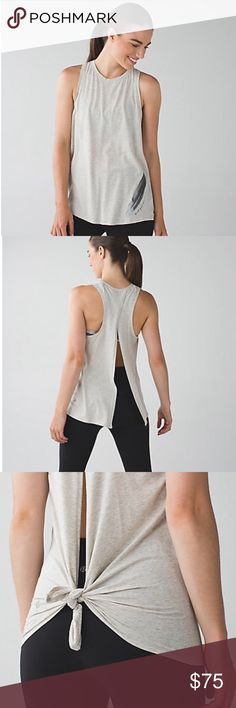 """Lululemon """"the nook"""" tank Like new!... color is heathered light gray... can be worn 2 ways: open or tied lululemon athletica Tops Tank Tops"""