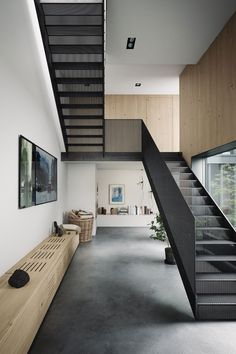 """I don't want to be interesting. Facade Design, Staircase Design, Architecture Design, House Design, Modern Wood Furniture, Metal Stairs, Contemporary Stairs, Luxury Apartments, House In The Woods"