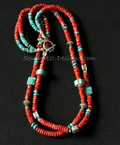 Apple Coral 2-Strand Square Cut Heishi Necklace with Turquoise & Sterling Silver Inlaid Cylinders, Turquoise Rondelles and Sterling