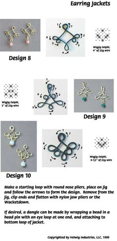Instructions for making Wire and Beads Earring Jackets using common jewelry supplies.