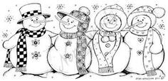 Northwoods Rubber Stamp -Four Snowmen with Scarf Border