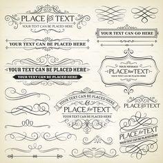 Vintage Frames and Scroll Elements Royalty Free Stock Vector Art Illustration Etiquette Vintage, Vintage Lettering, Chalkboard Lettering, Tampons, Vintage Labels, Vintage Frames, Journal Cards, Free Vector Art, Word Art