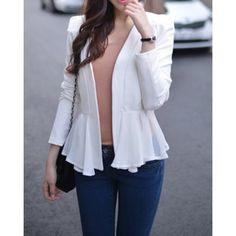 Elegant V-Neck Solid Color Long Sleeve Ruffle Blazer For Women Blazer | RoseGal.com Mobile