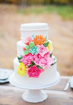 RushWorld loves bright, almost neon sugar florals  on the cake. More on RushWorld boards,  WEDDING CAKES WE DO,  HELLO CUPCAKE  and I CAN'T BELIEVE IT'S CAKE.  See You at RushWorld!