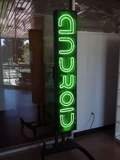 Richard Hay, a Network Testing, Google Platforms Engineer, posted a picture of a neon green Android sign.  I am not sure where the picture exactly was taken but I've never seen an Android sign like th