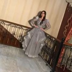 Grey embellished ostrich feather custom made dress Beautiful Casual Dresses, Stylish Dresses, Women's Dresses, Debut Dresses, Royal Dresses, Baby Pink Prom Dresses, Stylish Dress Designs, Pakistani Fashion Party Wear, Dinner Gowns