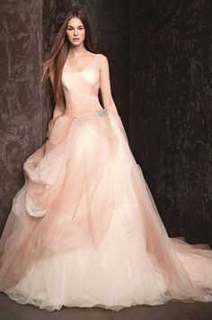 Pink wedding dress. See more about pink wedding dresses, tulle wedding dresses and blush pink weddings. pink