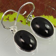 Natural BLACK ONYX Oval Gemstones 925 Sterling Silver Delicate Earrings Handmade #SunriseJewellers #DropDangle