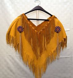 Pochahontas and the Visitors - Deer hide poncho, fringed with beaded rosettes.All hand -made~