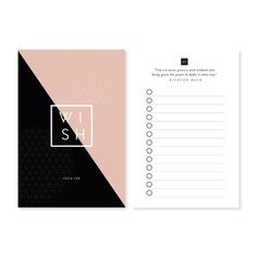 Wish List - Pocket Planner Note Cards, Planner Inserts