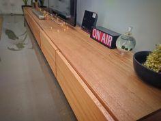 Modern Tasmanian oak entertainment unit finished in Danish oil