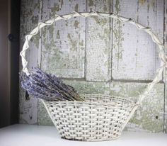 Vintage Large White Wicker Basket / Basket with by SouthernGilt