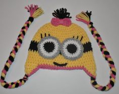 Minion Hat with Earflaps/Braids, Pink, Girl, Newborn to Adult, Choose Size