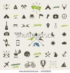 Summer camping  icon set - stock vector