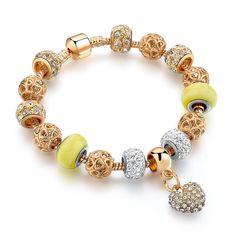 Gold Color Crystal Heart Charm Personalized Bracelets & Bangles For Women Trendy Bracelets Trendy Bracelets, Trendy Jewelry, Fashion Jewelry, Women Jewelry, Diy Jewelry, Fashion Bracelets, Jewelry Accessories, Fashion Accessories, Gold Plated Bracelets