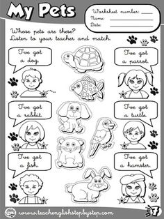 My Pets - Worksheet 4 (B&W version)