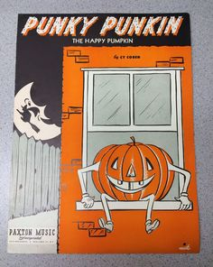 Vintage 1950 Sheet Music The Happy Pumpkin Halloween Punky Punkin Mid Century Jack O'Lantern Paper Wall Decor Decoration Cy Coben