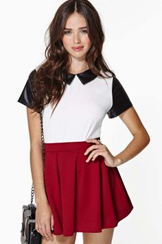 skater skirt and collared top